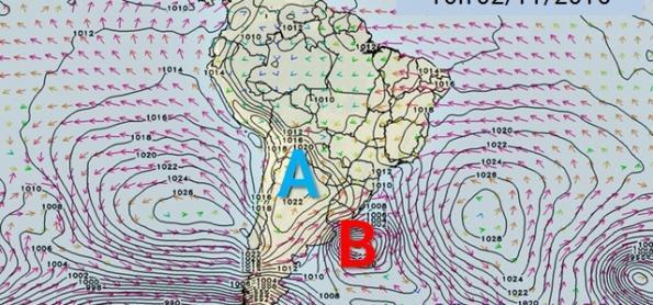Novo ciclone extratropical se forma no Uruguai