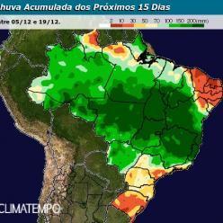 Brasil tem chuva volumosa até o início do verão