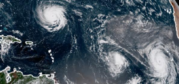 Três furacões estão ativos ao mesmo tempo no Atlântico