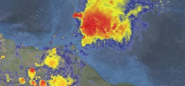 Tempestade subtropical Kirk avança sobre o mar do Caribe