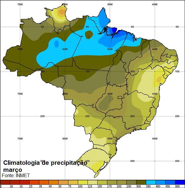 Resultado de imagem para mapa de chuva de março brasil