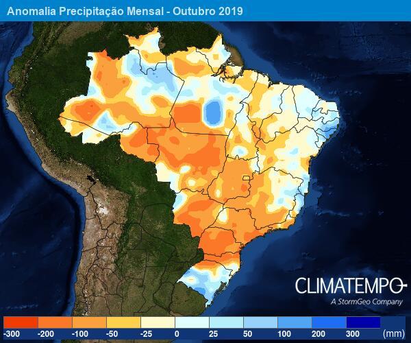 Anomalia de Precipitação Mensal - Outubro/2019