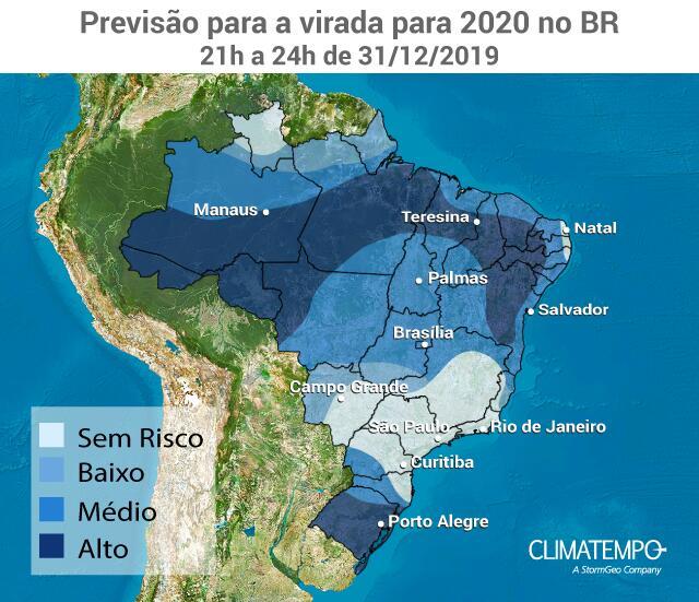 Previsão para a virada para 2020 no BR - Notícias Climatempo