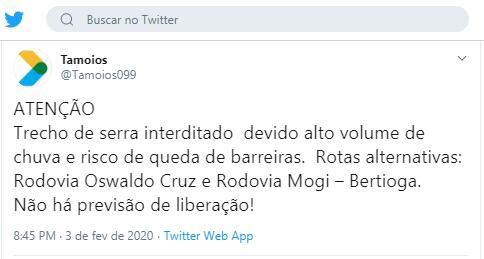 Tamoios_twiter - serra interrompida 3-2-2020