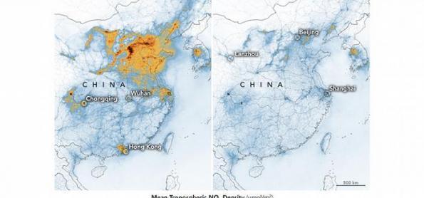 Imagens mostram redução drástica da poluição na China