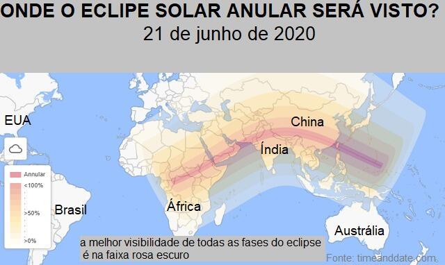 Veja o caminho do eclipse solar