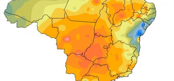 Ar muito seco predomina sobre o Brasil