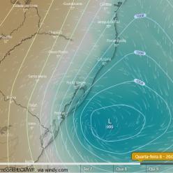 Novo ciclone se forma no Sul do Brasil na próxima semana