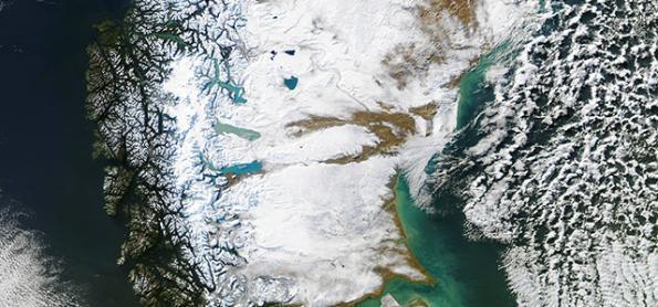NASA captura imagem rara da Patagônia no inverno