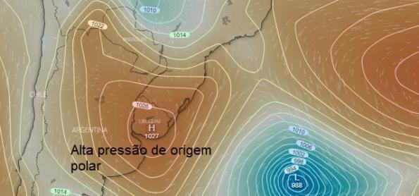 Ciclone bomba e massa de ar frio polar causam vento forte no BR