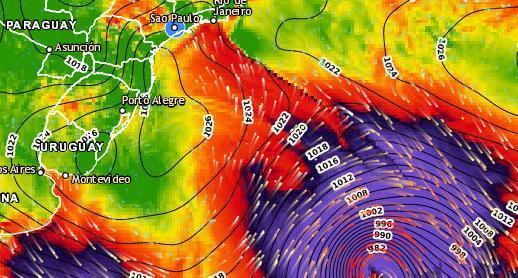 Ciclone bomba se afasta mais para alto mar