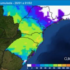 Fevereiro começa com mais temporais no Sul do Brasil.