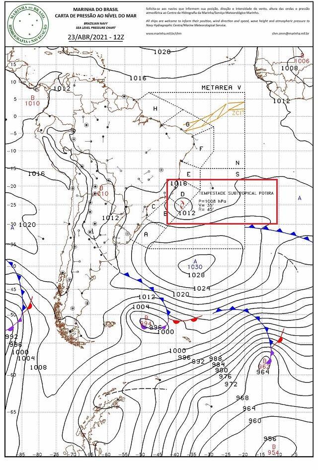Tempestade sub potira 23-4-2021 12hCarta Marinha
