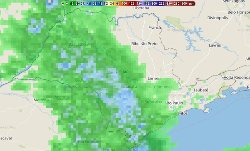 Acumulado de chuva previsto para este sábado.