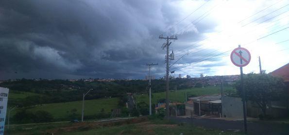 Formação de nuvens de chuva aconpanhadas de fortes rajadas de ventos em Monte Alto -SP