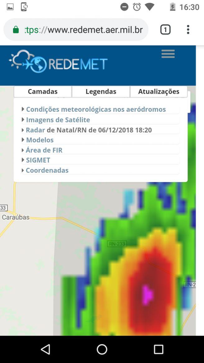 Célula com potencial de granizo se formou próximo a Caraúbas nesta tarde.