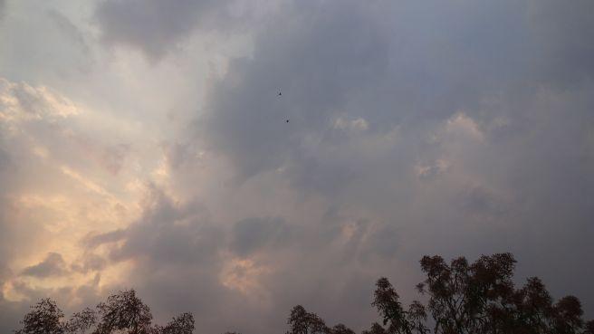 Névoa seca misturada com fumaça de queimadas ofuscam o Por do Sol neste dia!