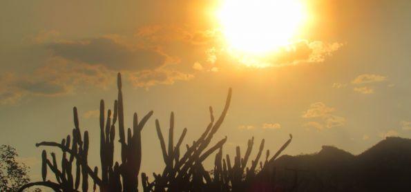 O Sol num resquício de fumaça